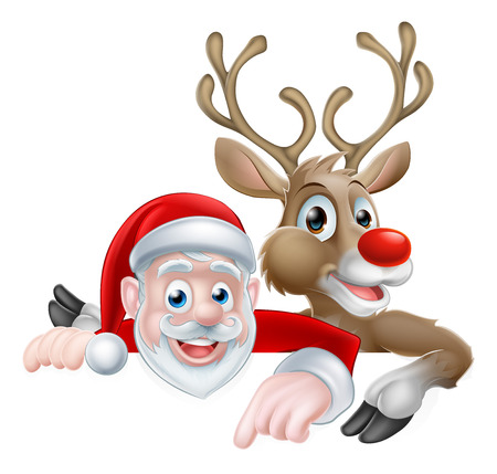 Cartoon Santa and reindeer peeking above sign and pointing Christmas illustration  イラスト・ベクター素材