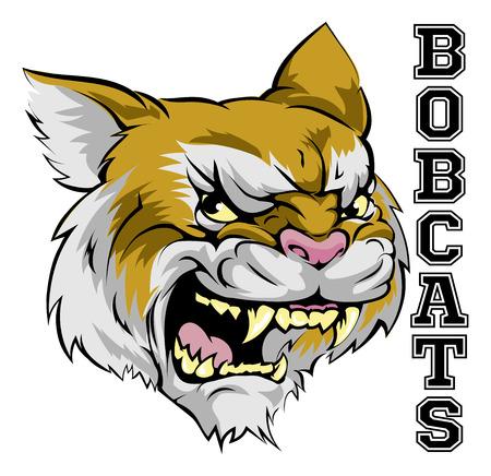 텍스트와 함께 만화 밥 캣 스포츠 팀 마스코트의 삽화 Bobcats