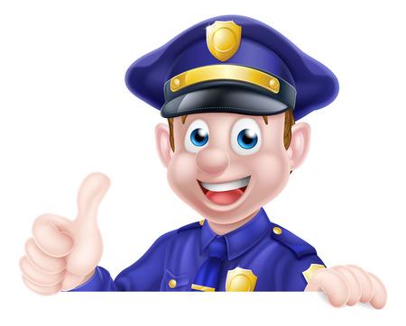 A cartoon friendly policeman peeking over a sign giving a thumbs up