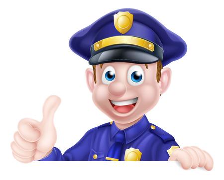 A cartoon friendly policeman peeking over a sign giving a thumbs up