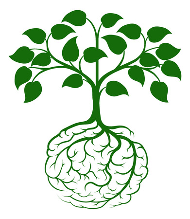 A tree growing from rooots shaped like a human brain Vectores