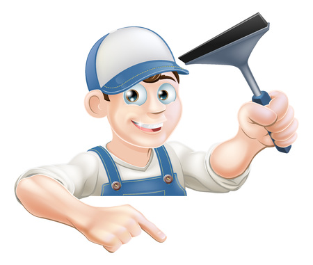 A cartoon window cleaner holding a squeegee and pointing down at a sign or your message
