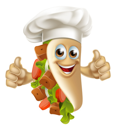 A cartoon souvlaki kebab chef character mascot man