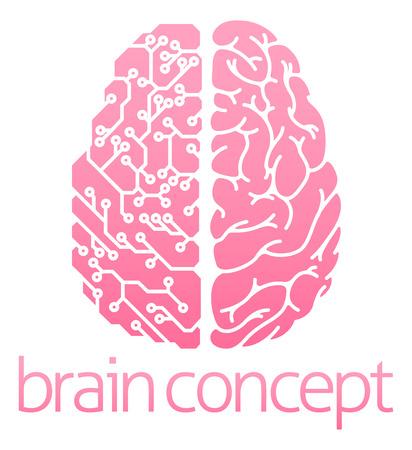 Conceptual design of a human brain electrical computer circuit concept design Stock Illustratie