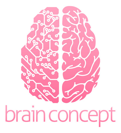 Conceptual design of a human brain electrical computer circuit concept design Illustration
