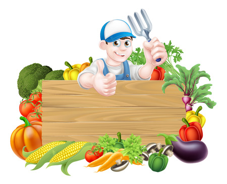 Vegetable gardener sign. A cartoon gardener  holding a garden fork tool above a wooden sign surrounded by fresh vegetables