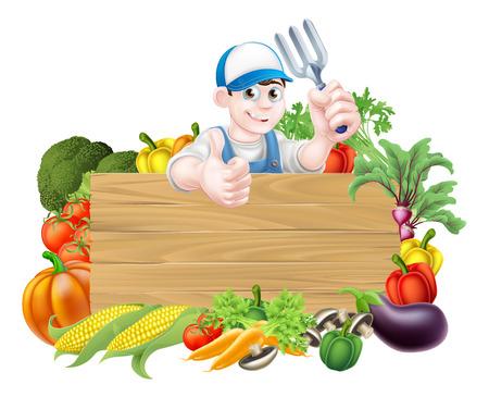 Vegetable gardener sign. A cartoon gardener  holding a garden fork tool above a wooden sign surrounded by fresh vegetables