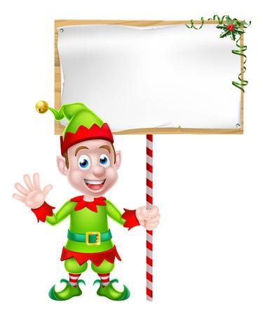 Cartoon Christmas Elf or Christmas helper holding a blank sign Vettoriali