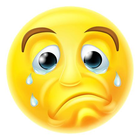Een triest huilende emoji emoticon smiley karakter met de tranen stroomden over zijn gezicht Stock Illustratie