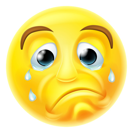 A sad crying emoji emoticon smiley face character with tears streaming down his face