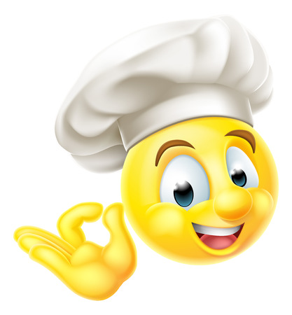 An emoji emoticon smiley face character dressed as a chef with a cooks hat giving a perfect or okay sign with his hand