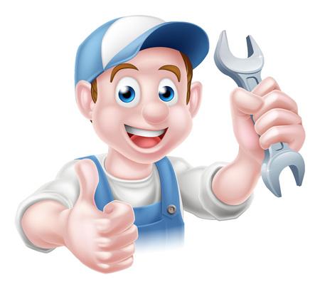Cartoon hydraulik lub pracownik człowiek Auto Naprawa serwis mechanik złota rączka dając kciuk do góry i trzyma klucz