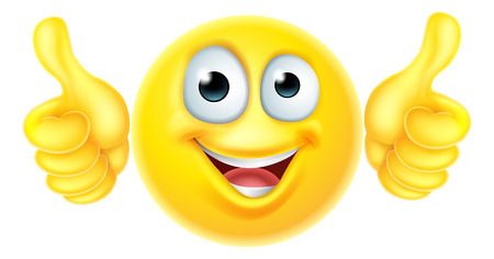 A cartoon emoji emoticon icon character looking very happy with his thumbs up, he likes it