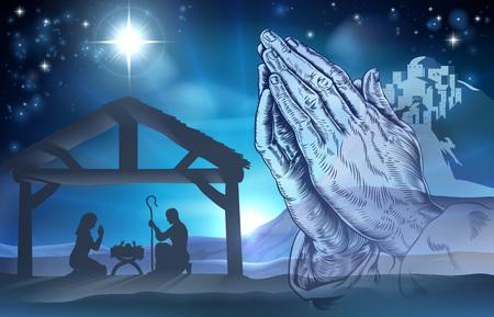 Nativity Christelijke scène van het kindje Jezus in de kribbe met Maria en Jozef en biddende handen Stockfoto - 44577548