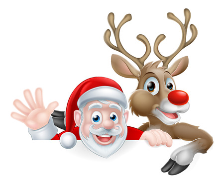 Christmas illustration of cartoon Santa and reindeer peeking above sign waving and pointing Иллюстрация