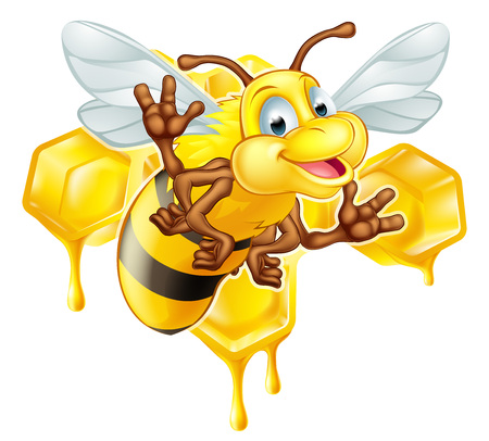 An illustration of a cute cartoon bee mascot character in front of a honeycomb dripping with drops of honey