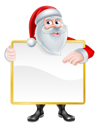 Christmas cartoon illustration of Santa Claus holding a sign board and pointing at it. 일러스트