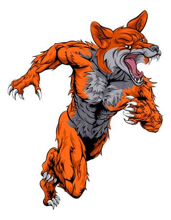 An illustration of a fox animal sports mascot cartoon character sprinting