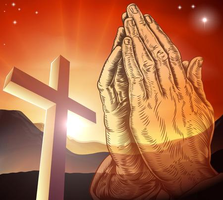 Christian cross and praying hands