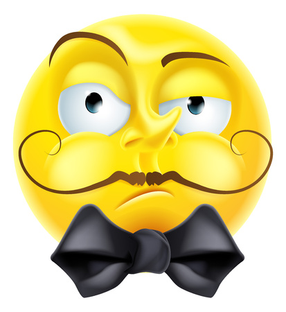 A snooty arrogant condescending looking  emoji emoticon smiley face character with a bow tie and raised eyebrow
