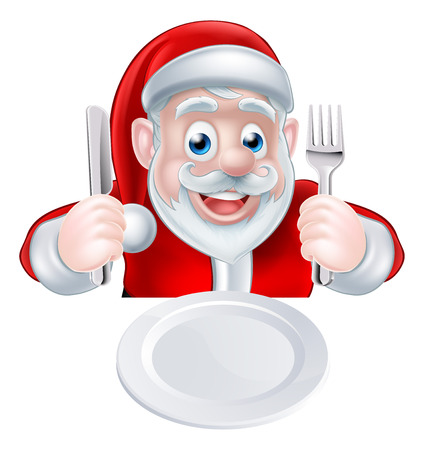 A Christmas cartoon illustration of Santa Claus ready for his Christmas meal holding a knife and fork with his plate in front of him