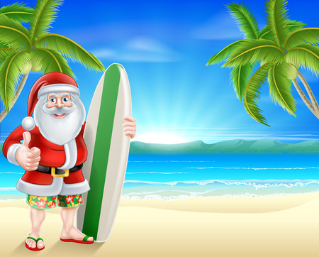 Cartoon Santa holding a surfboard and giving a thumbs up in his board shorts and sandals on a beach with palm trees in the background Illustration