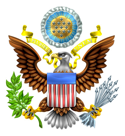 The Great Seal of the United States American eagle design with bald eagle holding an olive branch and arrows with American flag shield. With E pluribus unum scroll  and stars glory over his head.