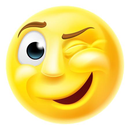 Szczęśliwy mrugając emoji emotikon buźkę charakter mrugając jednym okiem