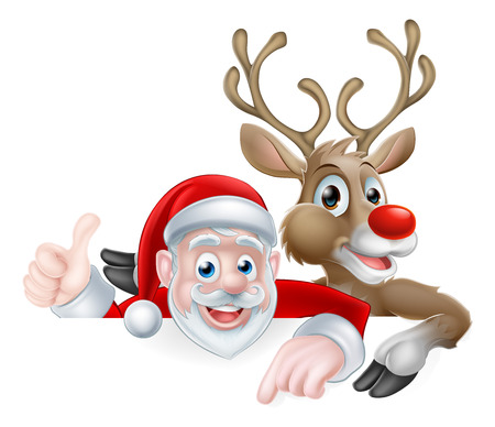 Christmas illustration of cartoon Santa and reindeer peeking above sign pointing and giving athumbs up