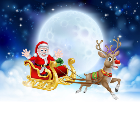 Santa Christmas moon background with clouds and stars. Fades to white at the bottom for easy use as border design or header.