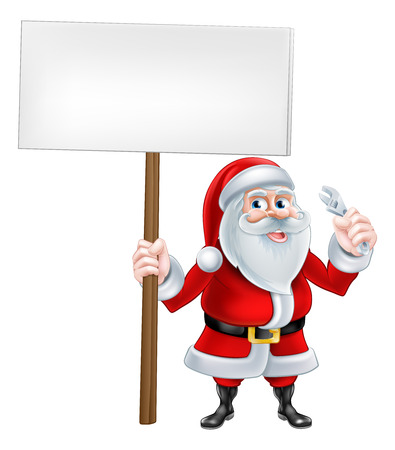 A Christmas cartoon illustration of plumber Santa Claus holding sign and wrench