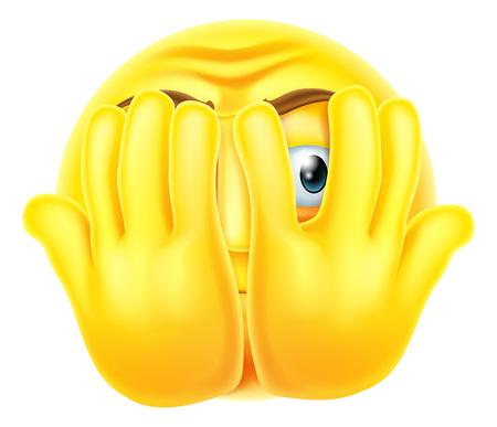 An emoticon emoji looking very scared hiding behind his hands
