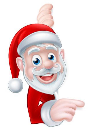 Cartoon Christmas Santa peeking around and pointing at a scroll, banner or sign Ilustrace
