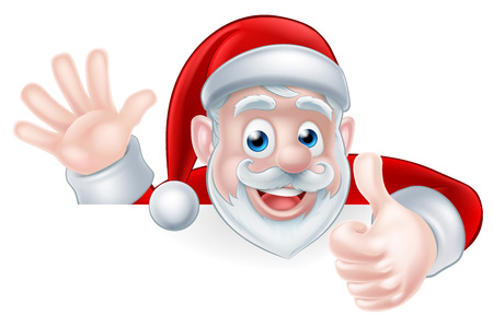 An illustration of a cartoon Santa claus waving and giving a thumbs up while peeking over a sign Vettoriali
