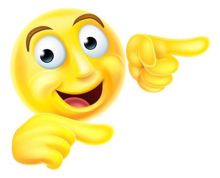 Eine glückliche emoji Emoticon Smiley Charakter zeigt mit beiden Händen Standard-Bild - 45052405