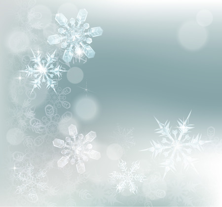 Blue silver abstract snowflakes snow flakes Christmas or New Year festive winter design background. Illustration