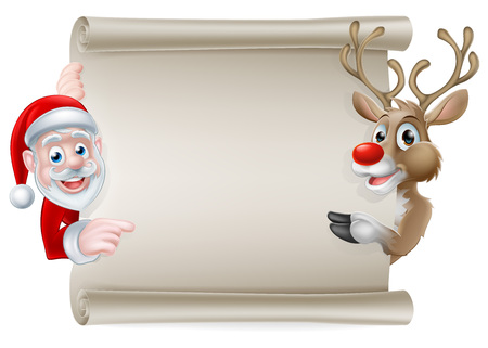Cartoon Christmas scroll sign of Santa Claus and his reindeer pointing at a scroll banner 向量圖像