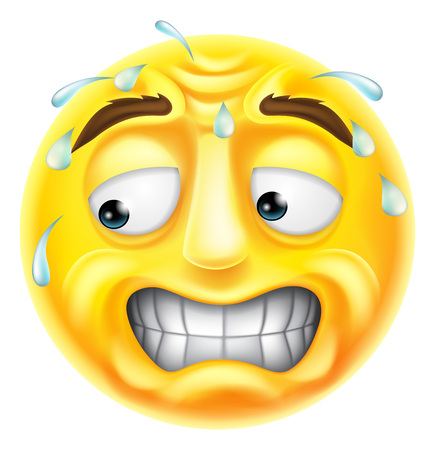 A scared, worried or embarrassed looking emji emoticon character