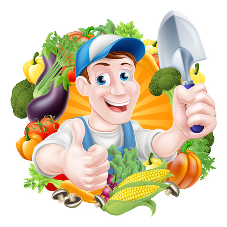 Vegetable gardener cartoon character in a cap and blue dungarees holding a garden hand spade trowel tool and giving a thumbs up surrounded by vegetables