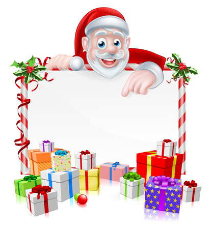 Christmas Sign with cartoon Santa Claus peeking over a sign board with wrapped gifts and Christmas holly Ilustração