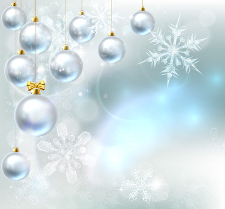 A blue silver abstract snowflakes snow flakes Christmas bauble decoration ornaments festive winter design background.