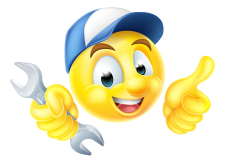 A cartoon mechanic or plumber emoticon emoji holding a spanner and giving a thumbs up