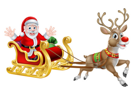 Cartoon of Santa and his reindeer with his Christmas sled
