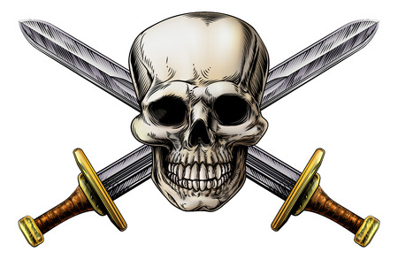 Skull and cross swords pirate symbol in a vintage woodblock style Ilustração