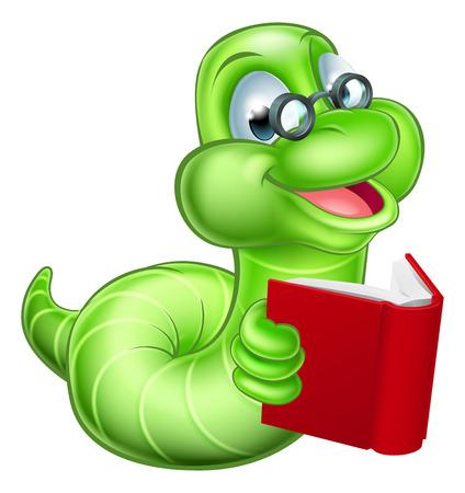 Lindo sonriente de la historieta verde polilla del gusano oruga con gafas de leer un libro Foto de archivo - 45912958