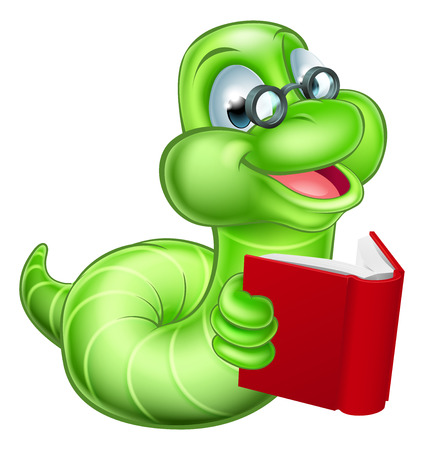 Cute smiling green cartoon caterpillar worm bookworm with glasses reading a book