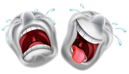 Theatre comedy and tragedy mask faces one laughing and one crying Illustration