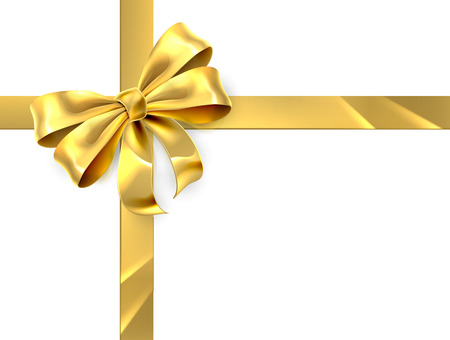 Christmas, birthday or other gift gold golden ribbon and bow wrapping background Ilustrace