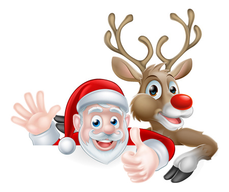 Christmas illustration of happy cute cartoon Santa and reindeer peeking above sign waving and giving a thumbs up