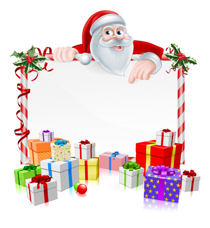 Santa Christmas Sign with cartoon Santa peeking over a sign with gifts and Christmas holly Vectores